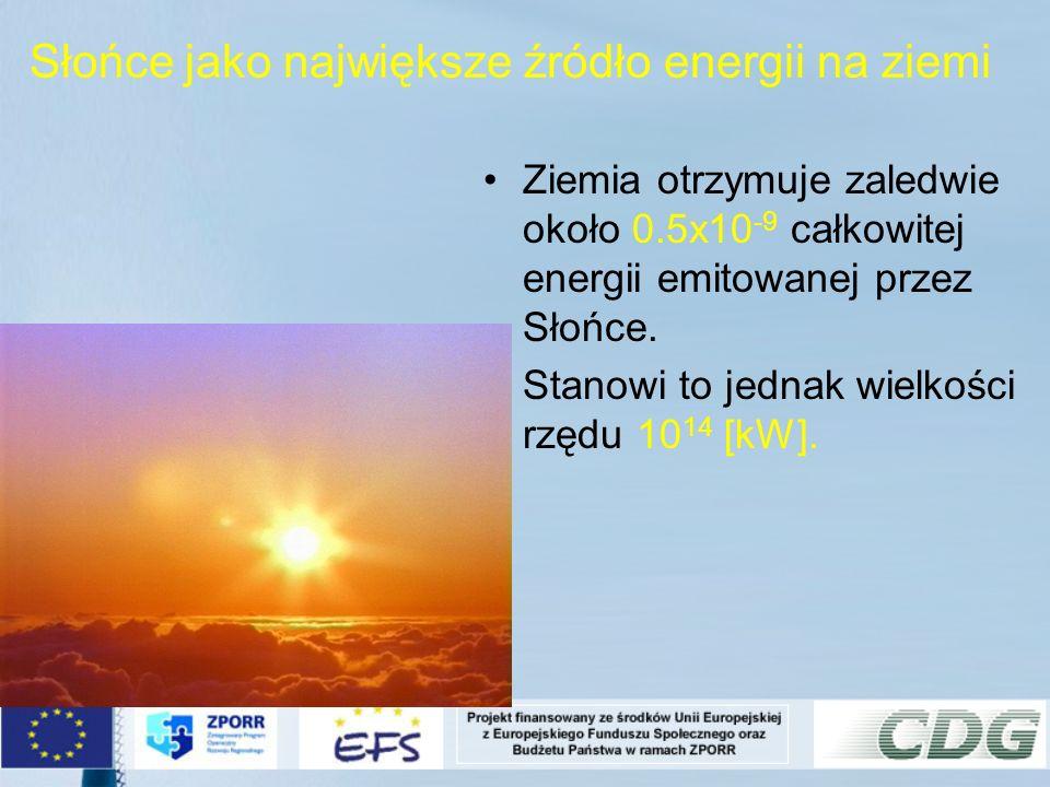 Słońce jako największe źródło energii na ziemi Ziemia otrzymuje zaledwie około 0.5x10 -9 całkowitej energii emitowanej przez Słońce. Stanowi to jednak