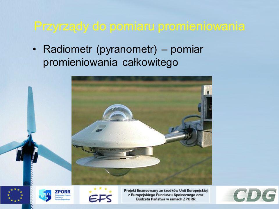 Przyrządy do pomiaru promieniowania Radiometr (pyranometr) – pomiar promieniowania całkowitego