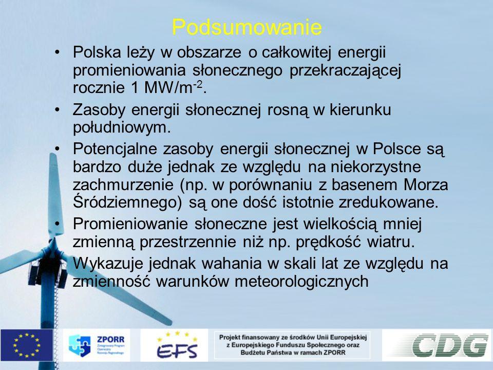 Podsumowanie Polska leży w obszarze o całkowitej energii promieniowania słonecznego przekraczającej rocznie 1 MW/m -2. Zasoby energii słonecznej rosną