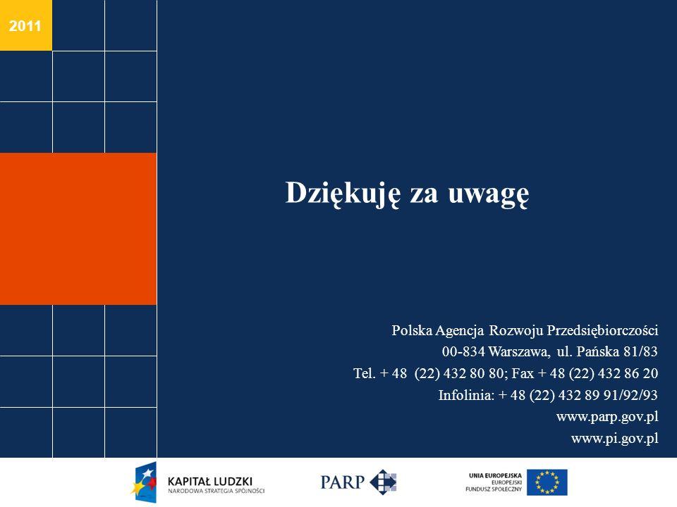 2011 Polska Agencja Rozwoju Przedsiębiorczości 00-834 Warszawa, ul. Pańska 81/83 Tel. + 48 (22) 432 80 80; Fax + 48 (22) 432 86 20 Infolinia: + 48 (22