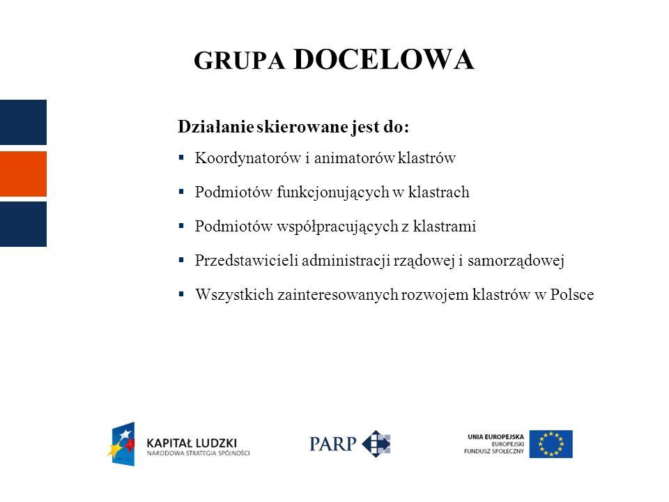 CELE Główny cel przedsięwzięcia Polskie klastry i polityka klastrowa : Wzmocnienie polskich klastrów, podniesienie ich konkurencyjności i zdolności innowacyjnej poprzez rozwój kapitału ludzkiego oraz poprzez podniesienie efektywności kształtowania polityki klastrowej.