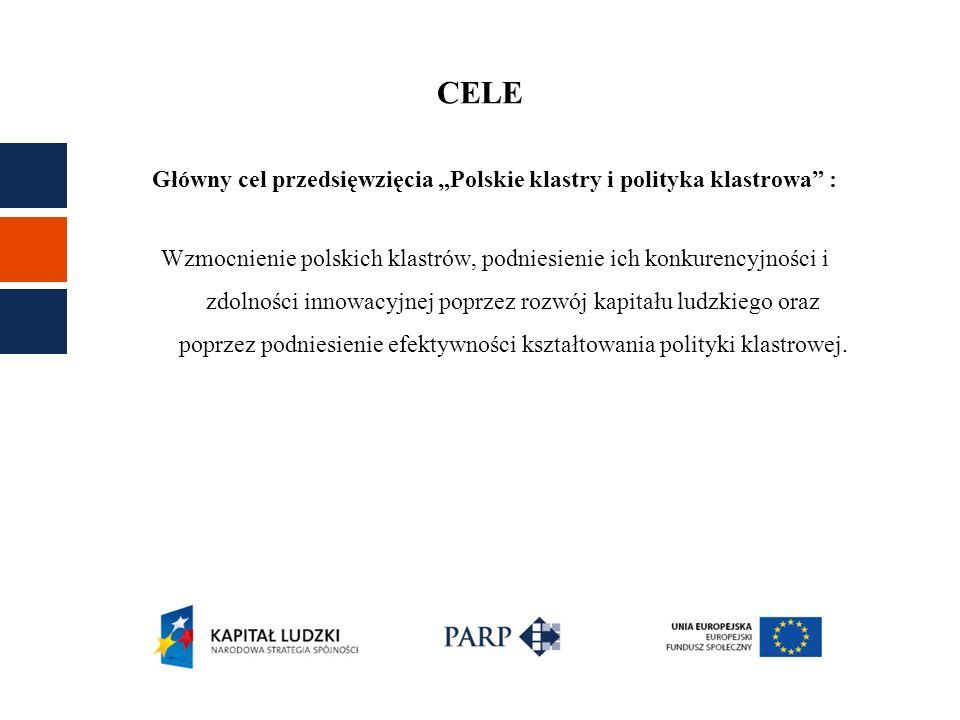 Wzrost świadomości roli klastrów i znaczenia gospodarki opartej na klastrach wśród grupy docelowej Poszerzenie wiedzy o istniejących klastrach w Polsce i ich osiągnięciach Poszerzenie wiedzy o klastrach na świecie Podniesienie umiejętności i poszerzenie praktycznej wiedzy koordynatorów/animatorów i podmiotów działających w klastrach, Wzmocnienie roli animatorów klastrów / koordynatorów klastrów Wzrost świadomości podmiotów funkcjonujących w klastrach i zmiana postaw wobec zagadnień współpracy ponadregionalnej, internacjonalizacji oraz B+R+I Zwiększenie zaangażowania partnerów centralnych i regionalnych w dialog dotyczący polityki klastrowej Zwiększenie wykorzystania doświadczeń i dobrych praktyk krajowych i zagranicznych w projektowaniu działań wspierających klastry.