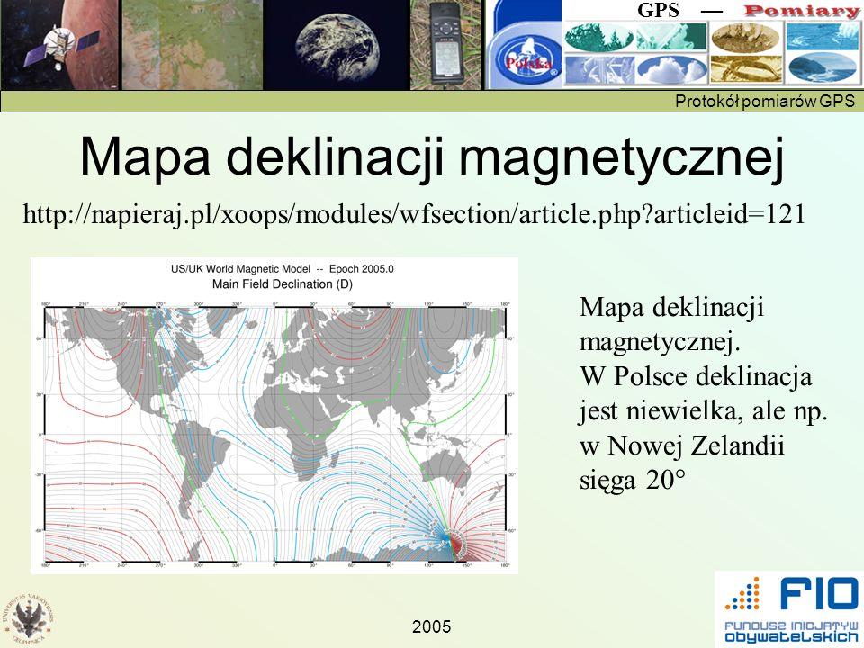 Protokół pomiarów GPS GPS 2005 http://napieraj.pl/xoops/modules/wfsection/article.php?articleid=121 Mapa deklinacji magnetycznej. W Polsce deklinacja