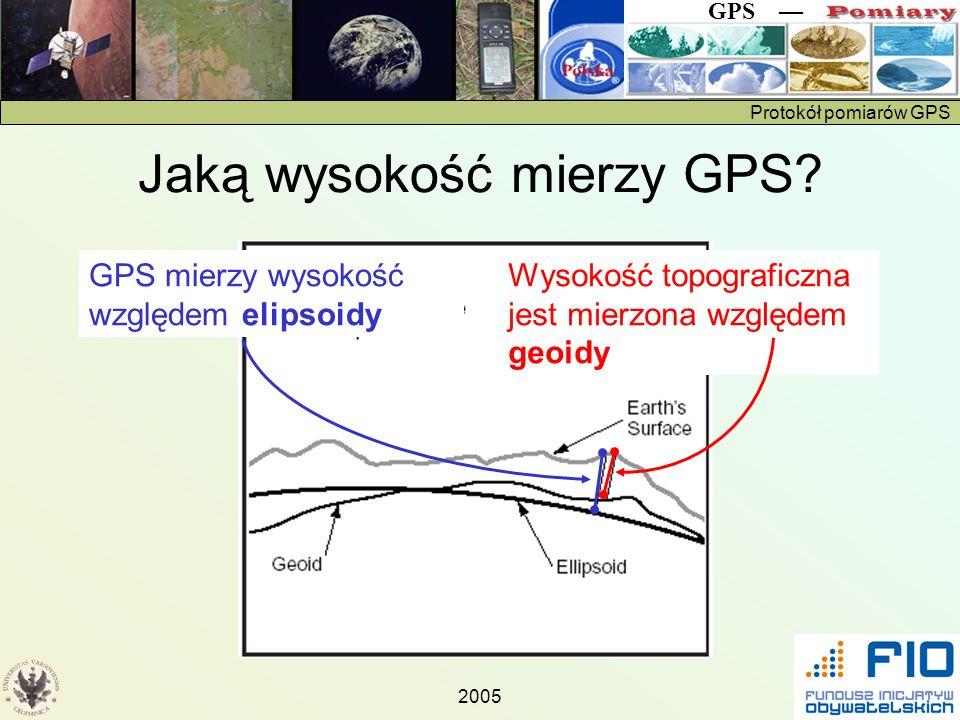 Protokół pomiarów GPS GPS 2005 Jaką wysokość mierzy GPS? GPS mierzy wysokość względem elipsoidy Wysokość topograficzna jest mierzona względem geoidy