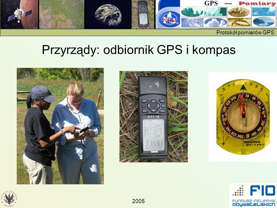 Protokół pomiarów GPS GPS 2005 Przyrządy: odbiornik GPS i kompas