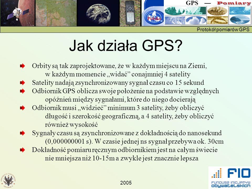 Protokół pomiarów GPS GPS 2005 Wyznaczanie odległości od satelity Zegary satelitów i odbiornika są dokładnie zsynchronizowane Satelity i odbiorniki generują ten sam pseudolosowy kod (patrz rysunek) Z przesunięcia kodu własnego i kodu otrzymanego z satelity odbiornik może obliczyć odległość do satelity Dodatkowe komplikacje są spowodowane tym, że prędkość rozchodzenia się sygnału zależy od stanu atmosfery (zawartość wody) i wysokości satelity (teoria względności)