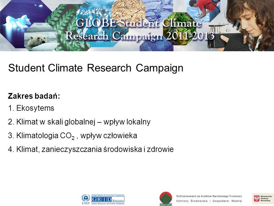 Badania gleby Warsztaty zaawansowane dla nauczycieli, 20-21 kwiecień 2010 Student Climate Research Campaign Zakres badań: 1. Ekosytems 2. Klimat w ska