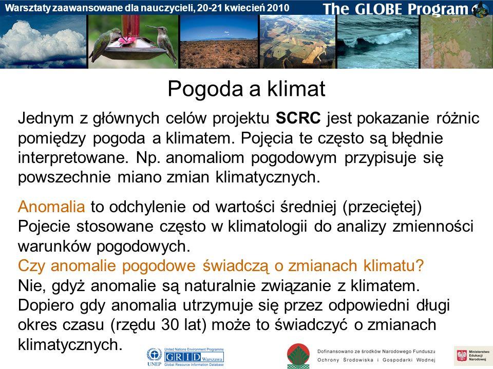 Badania gleby Warsztaty zaawansowane dla nauczycieli, 20-21 kwiecień 2010 Pogoda a klimat Jednym z głównych celów projektu SCRC jest pokazanie różnic