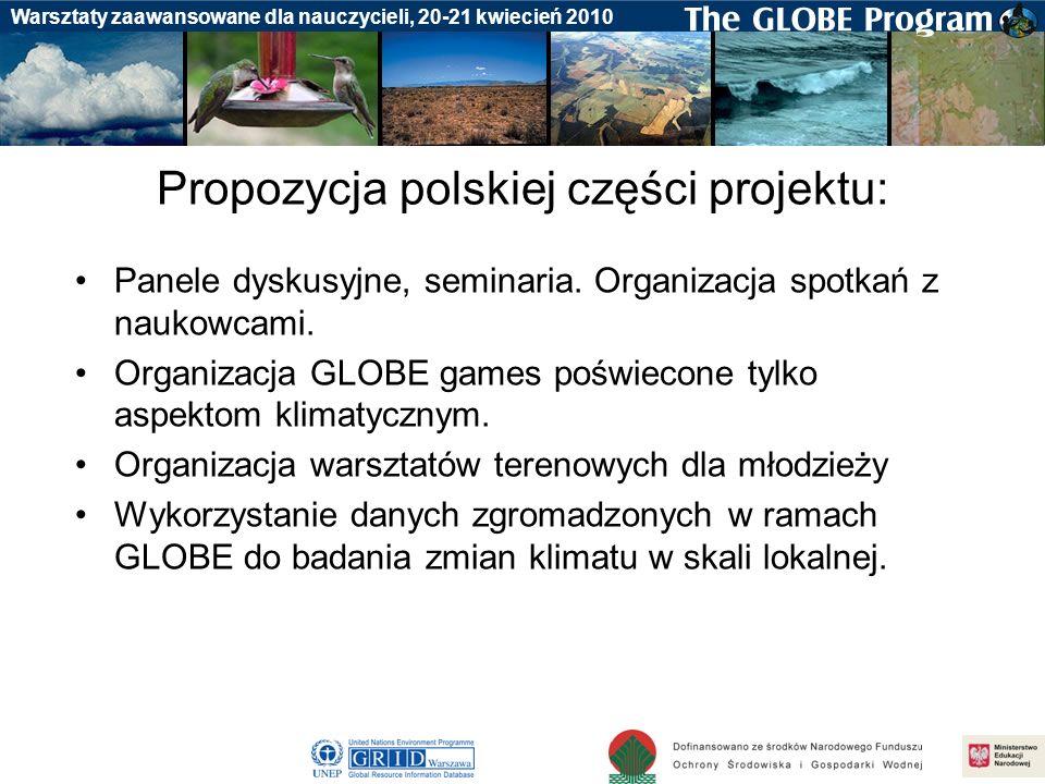 Badania gleby Warsztaty zaawansowane dla nauczycieli, 20-21 kwiecień 2010 Propozycja polskiej części projektu: Panele dyskusyjne, seminaria. Organizac