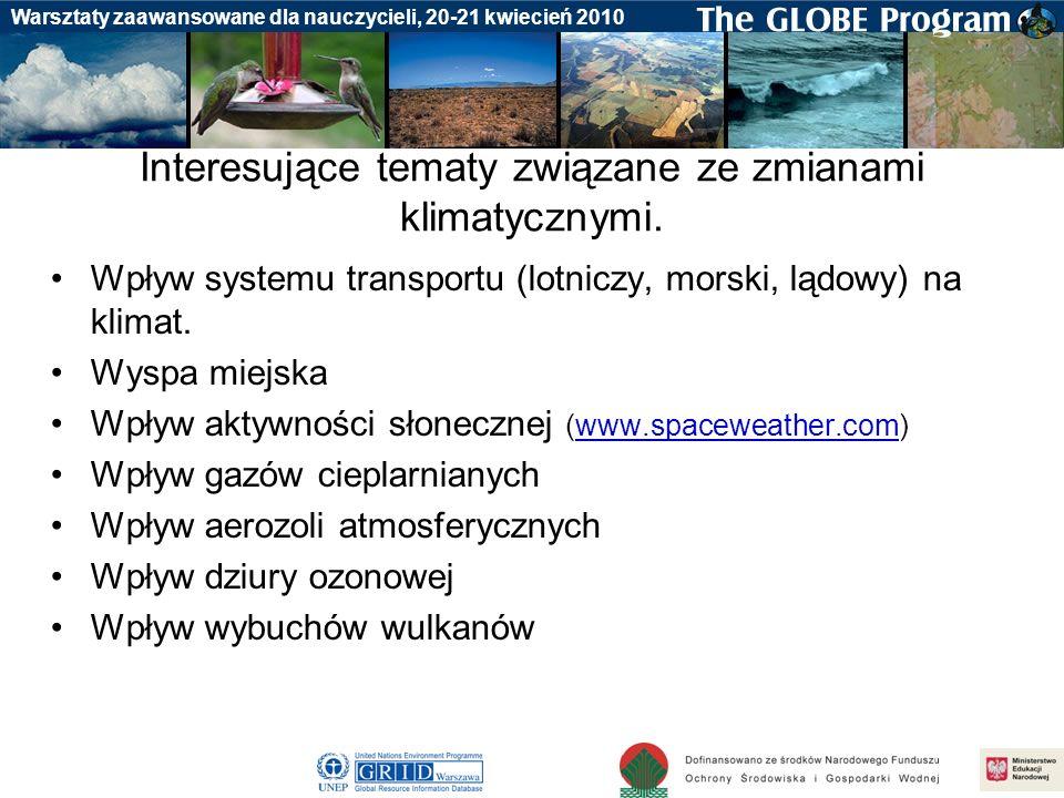 Badania gleby Warsztaty zaawansowane dla nauczycieli, 20-21 kwiecień 2010 Interesujące tematy związane ze zmianami klimatycznymi. Wpływ systemu transp