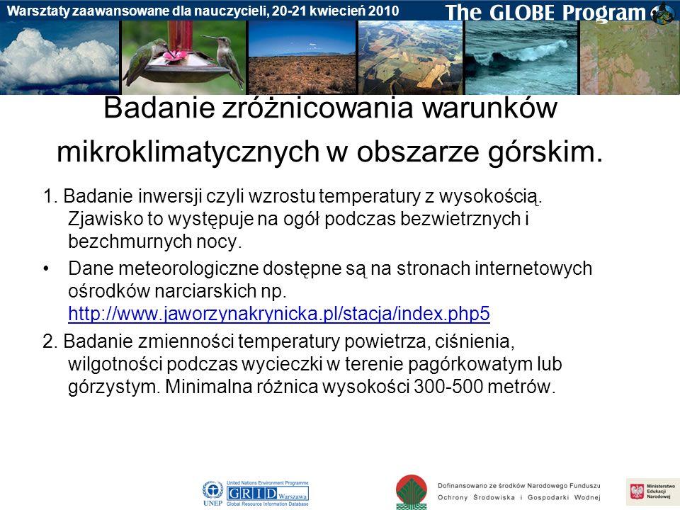 Badania gleby Warsztaty zaawansowane dla nauczycieli, 20-21 kwiecień 2010 Badanie zróżnicowania warunków mikroklimatycznych w obszarze górskim. 1. Bad