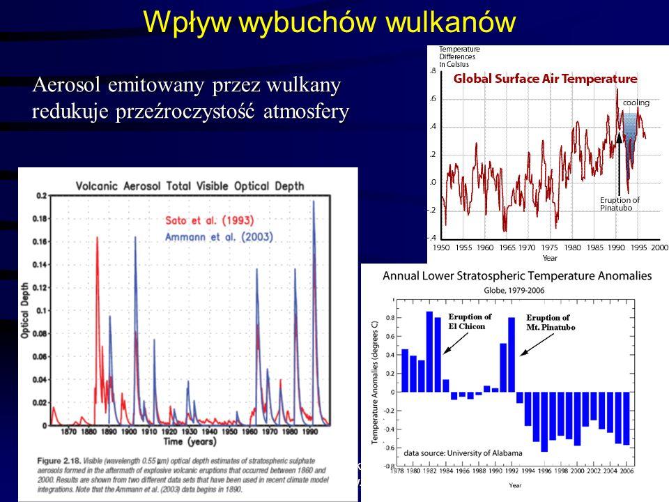 1/11/2014 Krzysztof Markowicz kmark@igf.fuw.edu.pl Wpływ wybuchów wulkanów Aerosol emitowany przez wulkany redukuje przeźroczystość atmosfery
