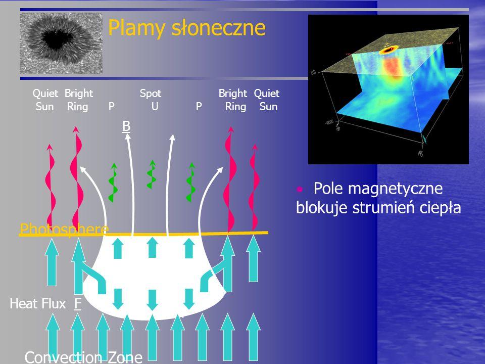 Pole magnetyczne blokuje strumień ciepła Plamy słoneczne B Heat Flux F Quiet Bright Spot Bright Quiet Sun Ring P U P Ring Sun Photosphere Convection Z