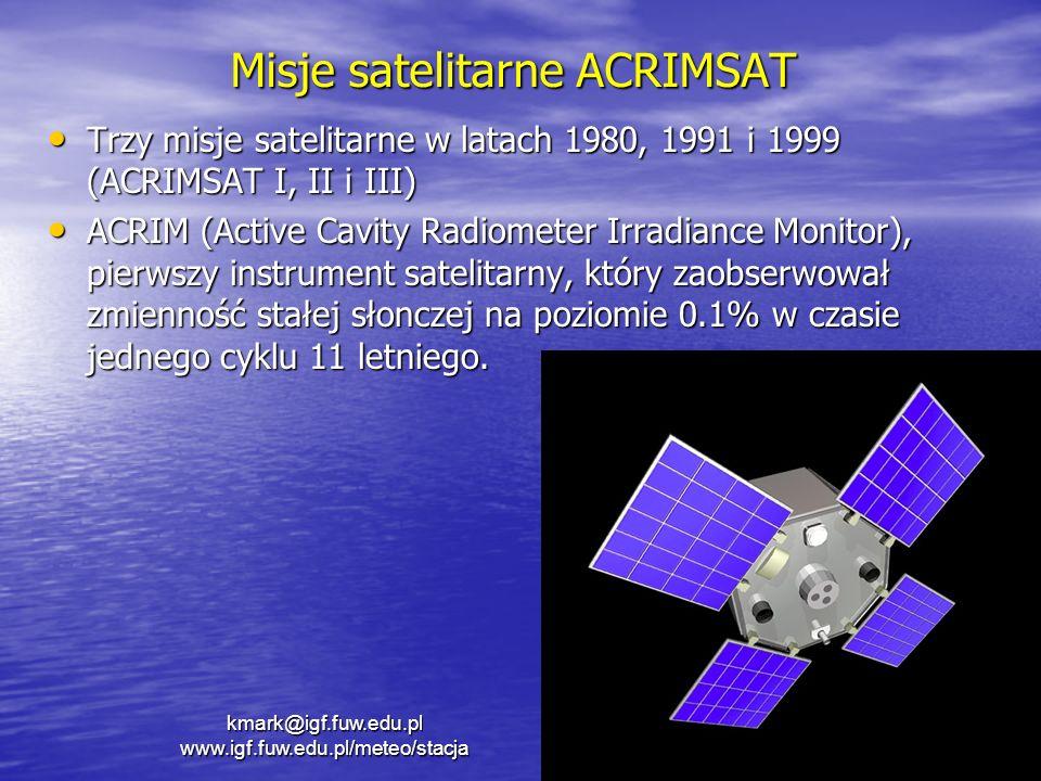Misje satelitarne ACRIMSAT Trzy misje satelitarne w latach 1980, 1991 i 1999 (ACRIMSAT I, II i III) Trzy misje satelitarne w latach 1980, 1991 i 1999