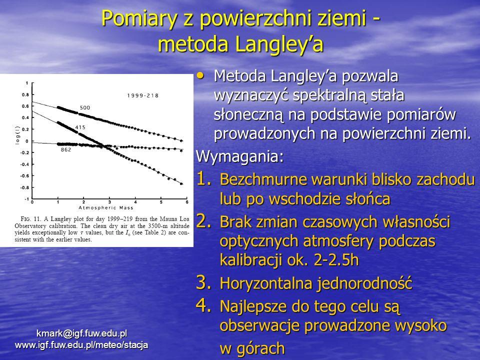 Pomiary z powierzchni ziemi - metoda Langleya Metoda Langleya pozwala wyznaczyć spektralną stała słoneczną na podstawie pomiarów prowadzonych na powie