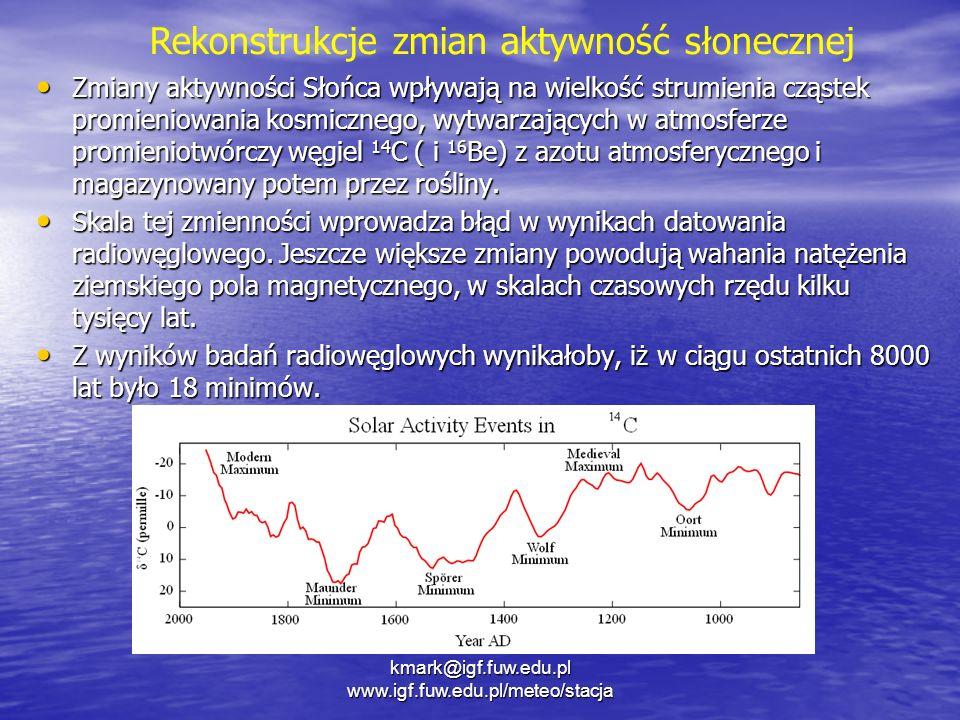 Zmiany aktywności Słońca wpływają na wielkość strumienia cząstek promieniowania kosmicznego, wytwarzających w atmosferze promieniotwórczy węgiel 14 C