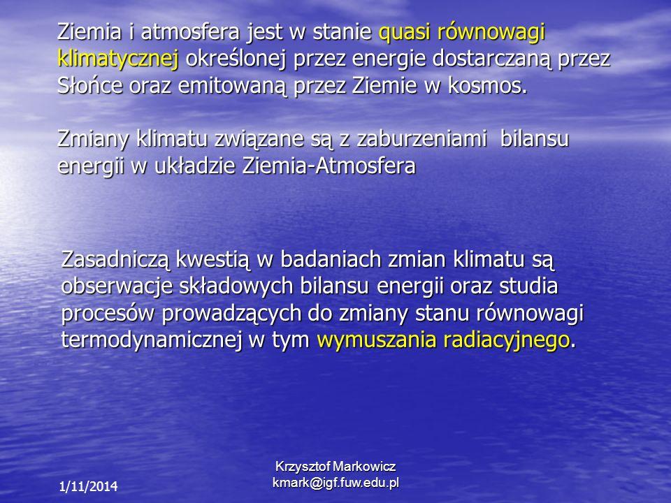 Krzysztof Markowicz kmark@igf.fuw.edu.pl 1/11/2014 Ziemia i atmosfera jest w stanie quasi równowagi klimatycznej określonej przez energie dostarczaną