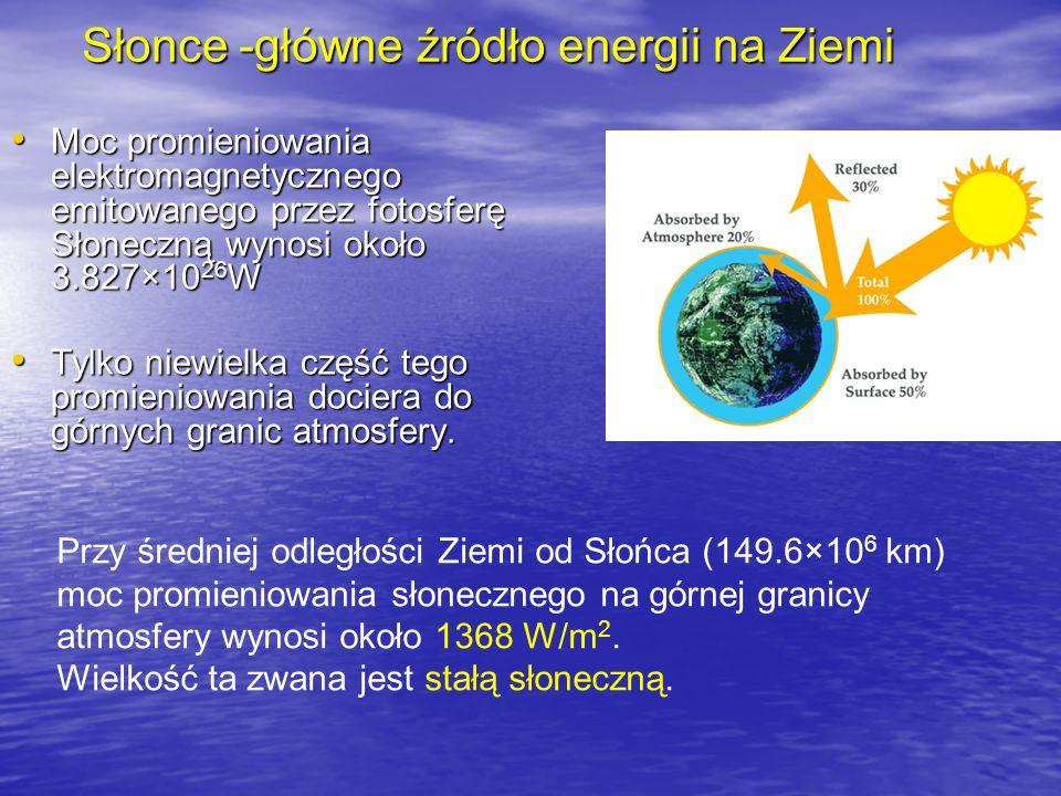 Słonce -główne źródło energii na Ziemi Moc promieniowania elektromagnetycznego emitowanego przez fotosferę Słoneczną wynosi około 3.827×10 26 W Moc pr