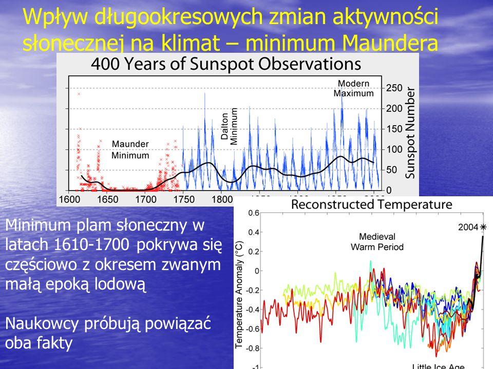 Wpływ długookresowych zmian aktywności słonecznej na klimat – minimum Maundera Minimum plam słoneczny w latach 1610-1700 pokrywa się częściowo z okres