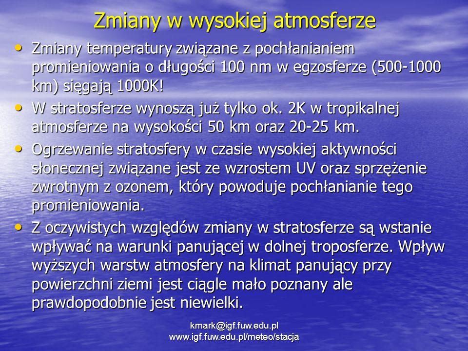 Zmiany w wysokiej atmosferze Zmiany temperatury związane z pochłanianiem promieniowania o długości 100 nm w egzosferze (500-1000 km) sięgają 1000K! Zm