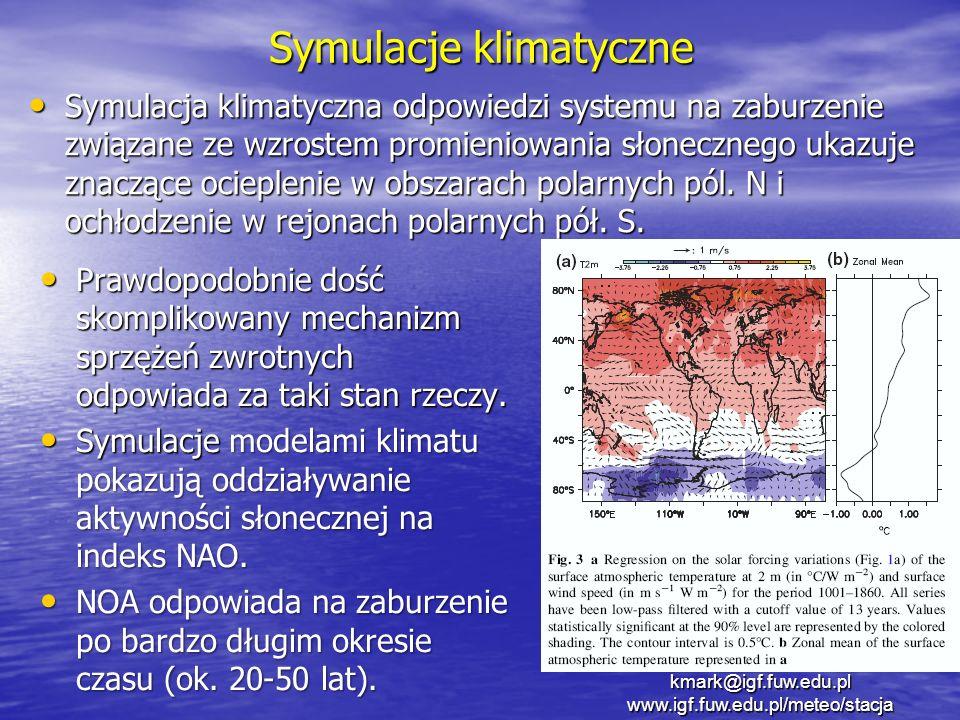 Symulacje klimatyczne Symulacja klimatyczna odpowiedzi systemu na zaburzenie związane ze wzrostem promieniowania słonecznego ukazuje znaczące ocieplen