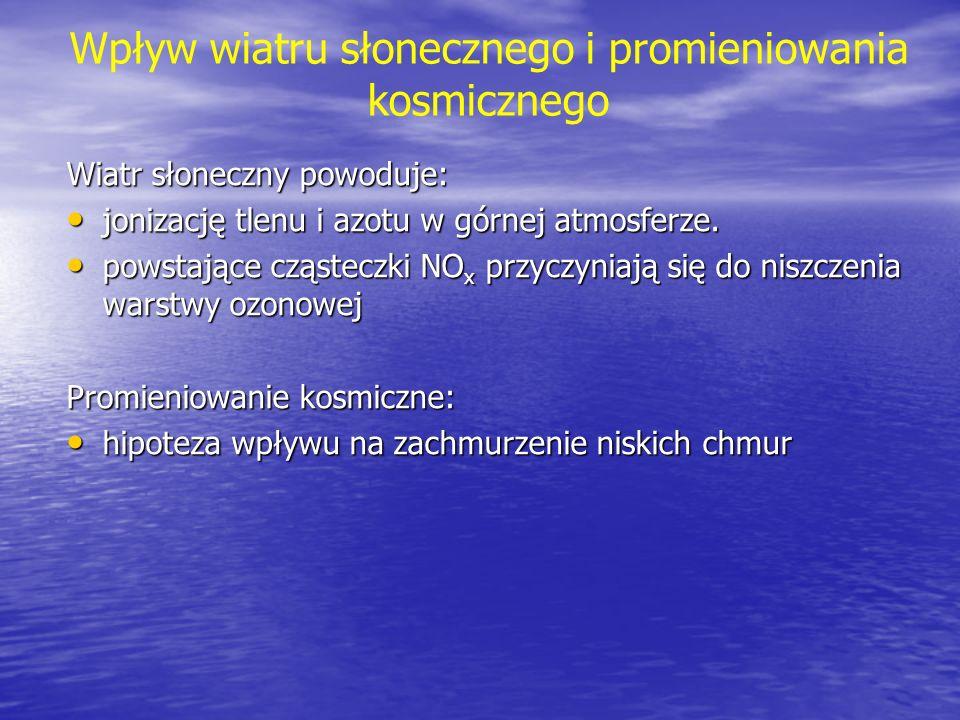 Wpływ wiatru słonecznego i promieniowania kosmicznego Wiatr słoneczny powoduje: jonizację tlenu i azotu w górnej atmosferze. jonizację tlenu i azotu w
