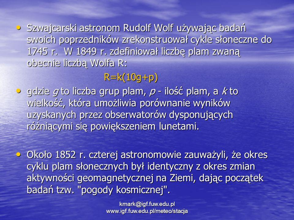 Szwajcarski astronom Rudolf Wolf używając badań swoich poprzedników zrekonstruował cykle słoneczne do 1745 r. W 1849 r. zdefiniował liczbę plam zwaną