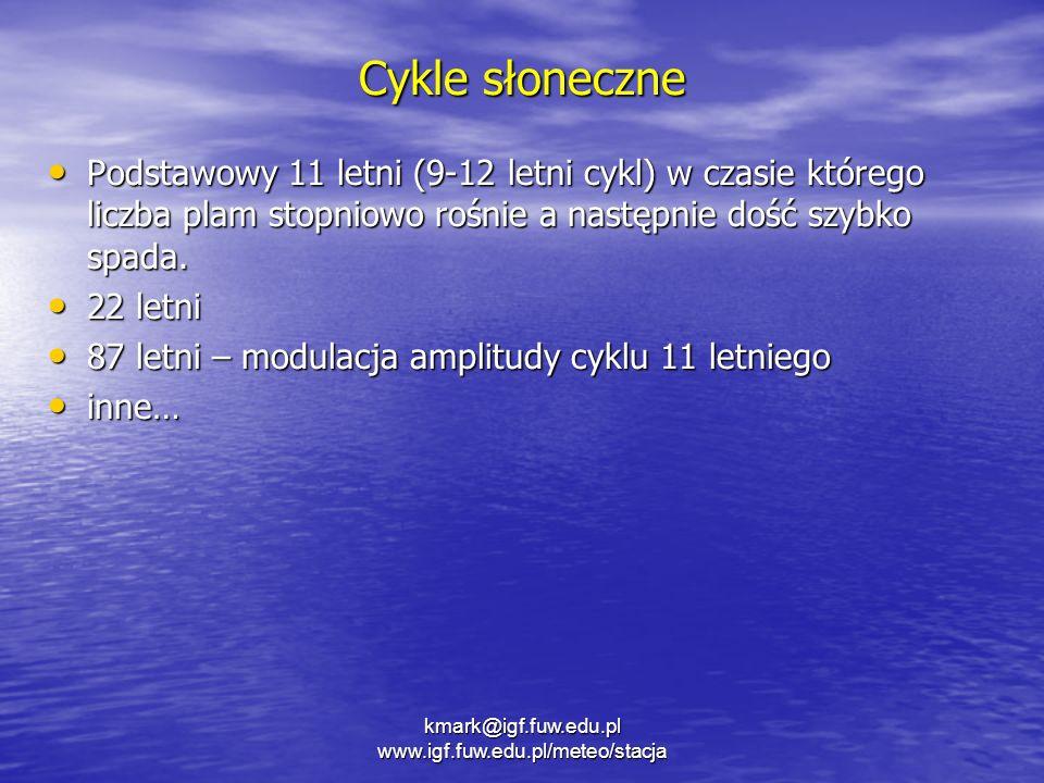 Cykle słoneczne Podstawowy 11 letni (9-12 letni cykl) w czasie którego liczba plam stopniowo rośnie a następnie dość szybko spada. Podstawowy 11 letni