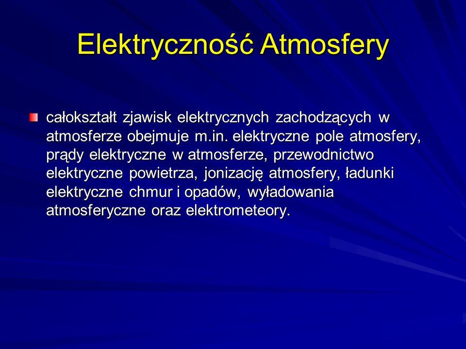 Elektryczność Atmosfery całokształt zjawisk elektrycznych zachodzących w atmosferze obejmuje m.in. elektryczne pole atmosfery, prądy elektryczne w atm