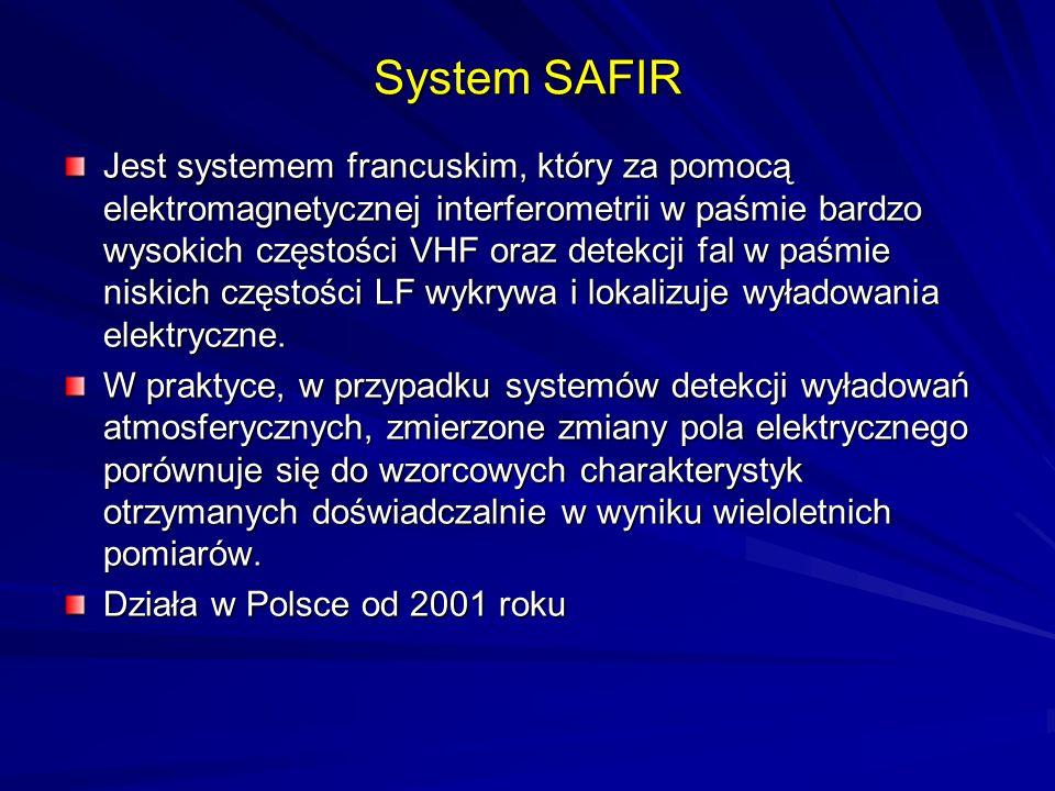 System SAFIR Jest systemem francuskim, który za pomocą elektromagnetycznej interferometrii w paśmie bardzo wysokich częstości VHF oraz detekcji fal w