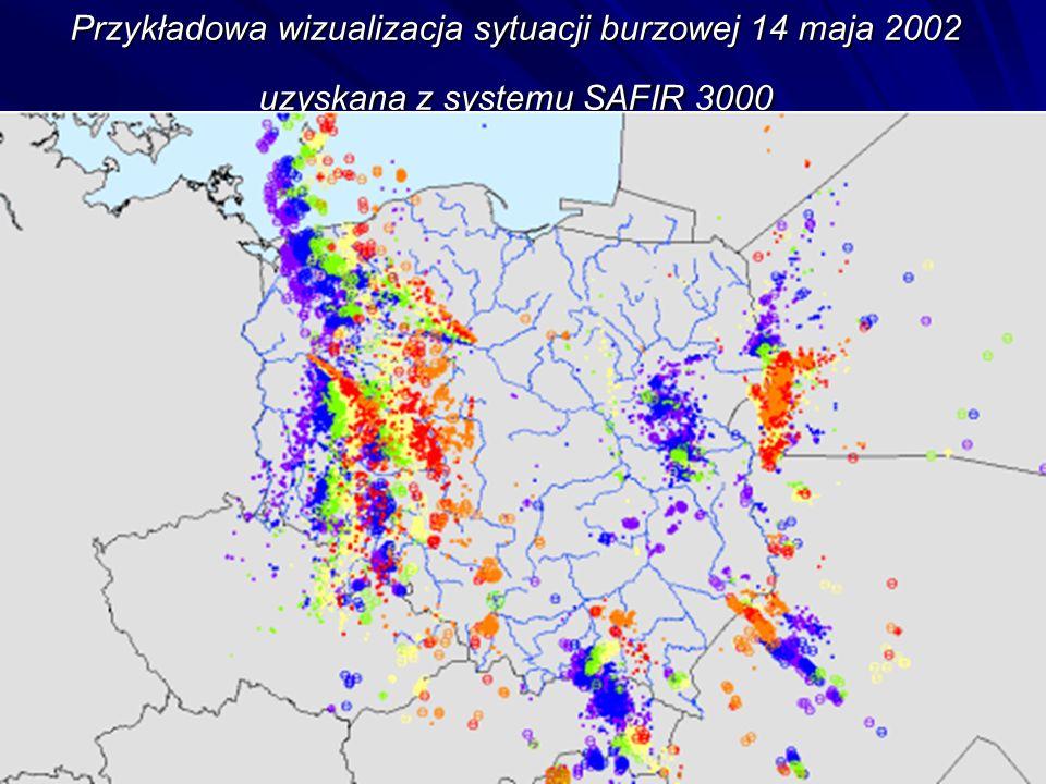 Przykładowa wizualizacja sytuacji burzowej 14 maja 2002 uzyskana z systemu SAFIR 3000
