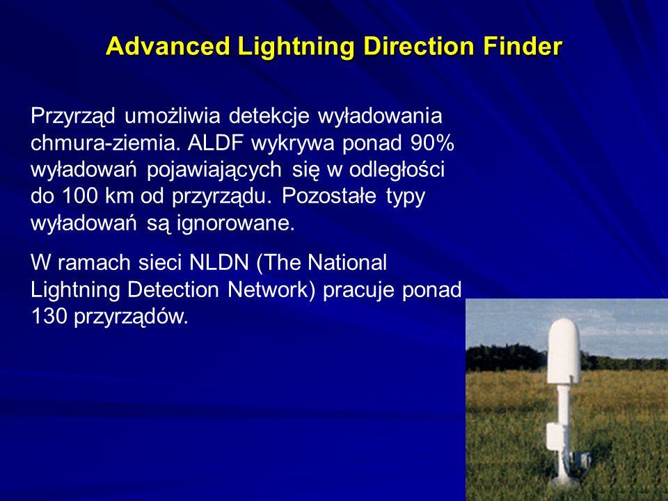 Advanced Lightning Direction Finder Przyrząd umożliwia detekcje wyładowania chmura-ziemia. ALDF wykrywa ponad 90% wyładowań pojawiających się w odległ