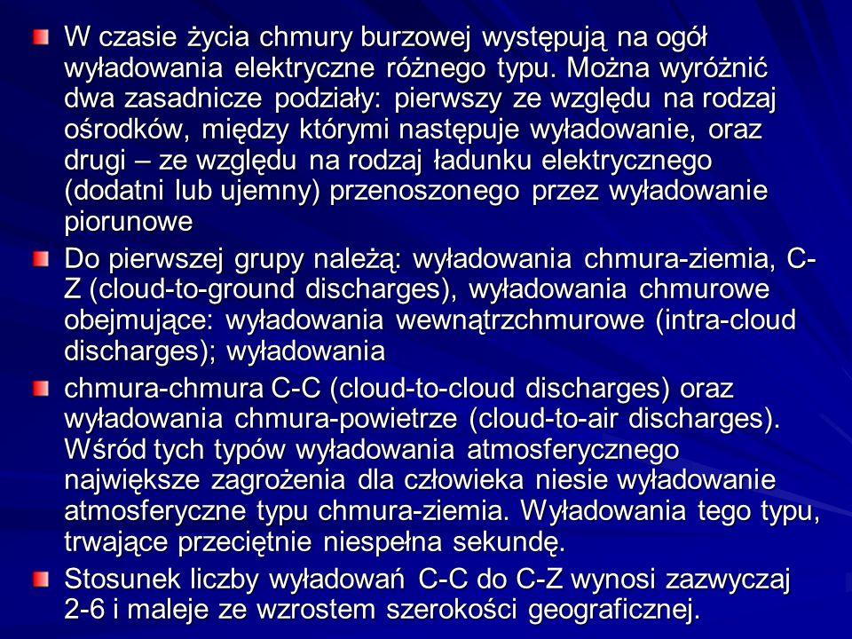 W czasie życia chmury burzowej występują na ogół wyładowania elektryczne różnego typu. Można wyróżnić dwa zasadnicze podziały: pierwszy ze względu na