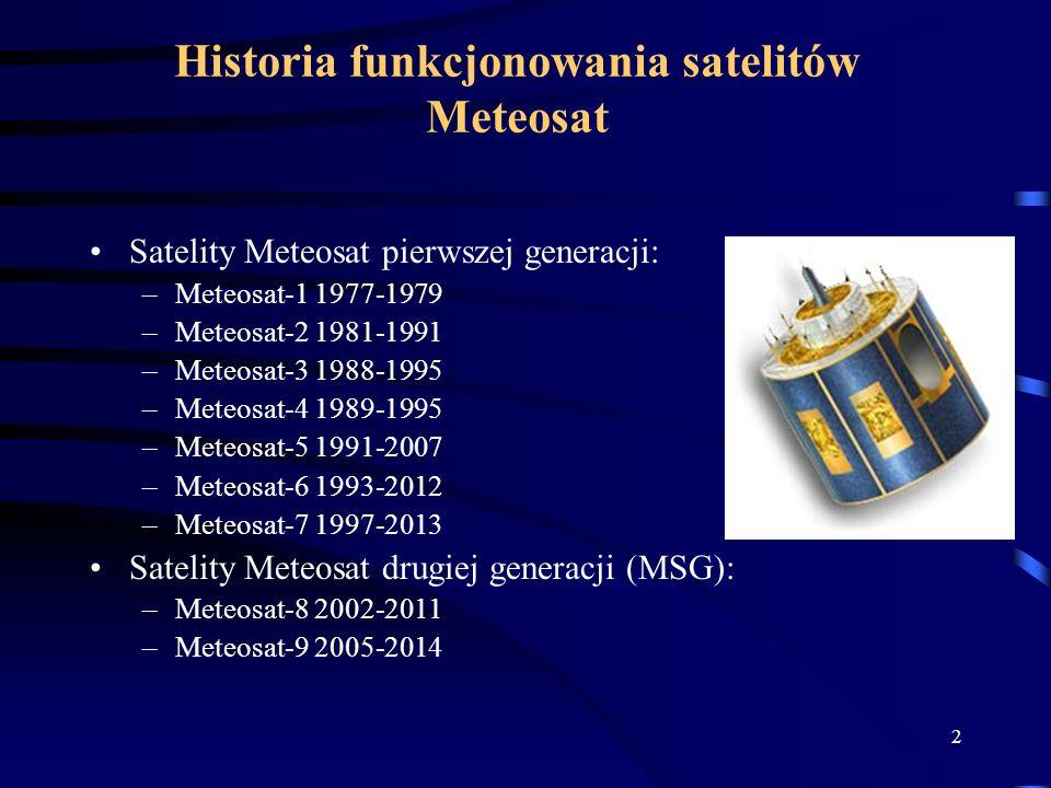 2 Historia funkcjonowania satelitów Meteosat Satelity Meteosat pierwszej generacji: –Meteosat-1 1977-1979 –Meteosat-2 1981-1991 –Meteosat-3 1988-1995