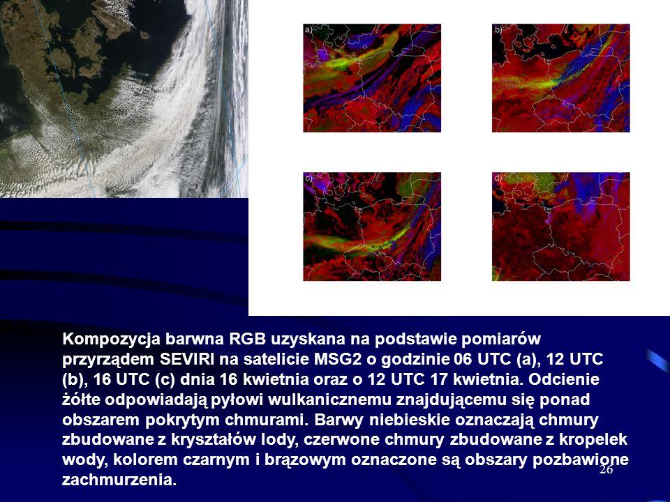 26 Kompozycja barwna RGB uzyskana na podstawie pomiarów przyrządem SEVIRI na satelicie MSG2 o godzinie 06 UTC (a), 12 UTC (b), 16 UTC (c) dnia 16 kwie