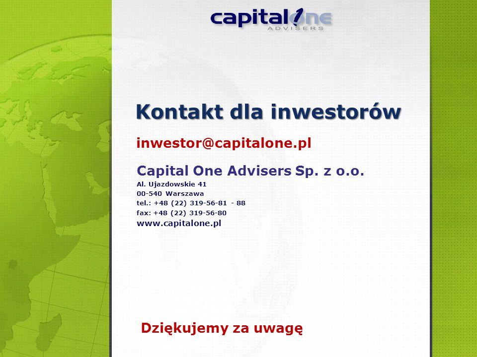 Capital One Advisers Sp. z o.o. Al. Ujazdowskie 41 00-540 Warszawa tel.: +48 (22) 319-56-81 - 88 fax: +48 (22) 319-56-80 www.capitalone.pl Kontakt dla