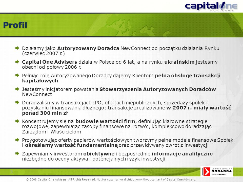 Capital One Advisers Sp.z o.o. Al.