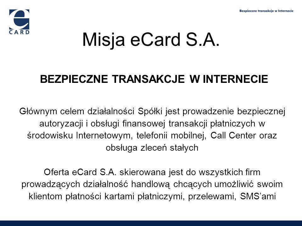 1,65 2,09 2,6 3,9 eCard oferuje w chwili obecnej pięć modeli realizacji transakcji: –obsługa transakcji dokonywanych kartą płatniczą przez stronę www –obsługa transakcji dokonywanych kartą płatniczą przez telefon –obsługa transakcji dokonywanych przy wykorzystaniu zlecenia stałego obciążania rachunku karty płatniczej –obsługa on-line transakcji dokonywanych przelewami ze stron www banków –obsługa transakcji dokonywanych za pomocą SMS Informacje o eCard S.A.