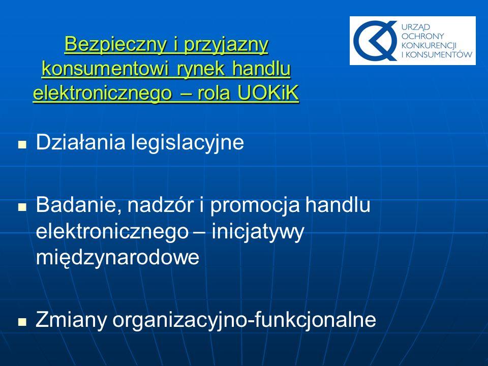 Bezpieczny i przyjazny konsumentowi rynek handlu elektronicznego – rola UOKiK Działania legislacyjne Badanie, nadzór i promocja handlu elektronicznego