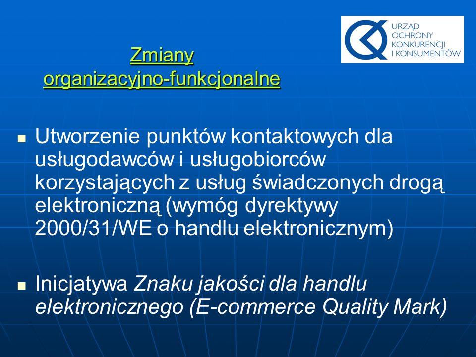 Zmiany organizacyjno-funkcjonalne Utworzenie punktów kontaktowych dla usługodawców i usługobiorców korzystających z usług świadczonych drogą elektroni