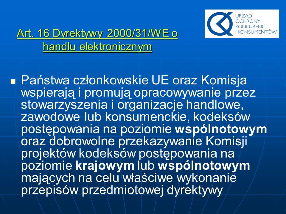 Art. 16 Dyrektywy 2000/31/WE o handlu elektronicznym Państwa członkowskie UE oraz Komisja wspierają i promują opracowywanie przez stowarzyszenia i org