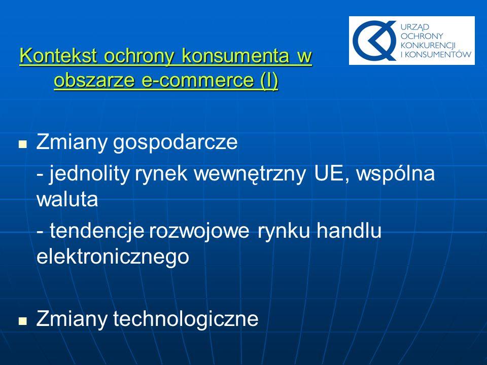 Kontekst ochrony konsumenta w obszarze e-commerce (II) Potencjalne korzyści wynikające dla konsumenta z prawidłowo funkcjonującego rynku handlu elektronicznego Budowa zaufania konsumentów do wykorzystywania metod zakupów on-line