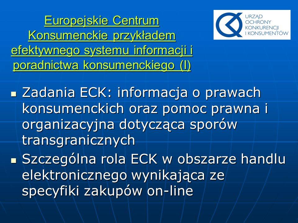 Europejskie Centrum Konsumenckie przykładem efektywnego systemu informacji i poradnictwa konsumenckiego (I) Zadania ECK: informacja o prawach konsumen