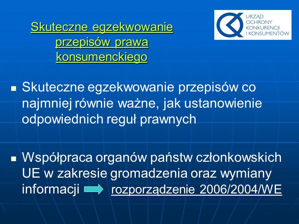 Rozporządzenie 2006/2004/WE w sprawie współpracy w dziedzinie ochrony konsumentów Jednolity urząd łącznikowy (w Polsce - UOKiK) Wyznaczenie właściwych organów (Dyrektywa 2000/31/WE – UOKiK) Znaczenie przedmiotowego rozporządzenia dla rynku handlu elektronicznego