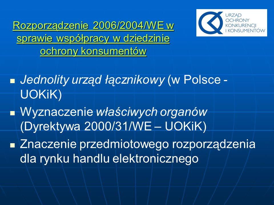 Rozporządzenie 2006/2004/WE w sprawie współpracy w dziedzinie ochrony konsumentów Jednolity urząd łącznikowy (w Polsce - UOKiK) Wyznaczenie właściwych