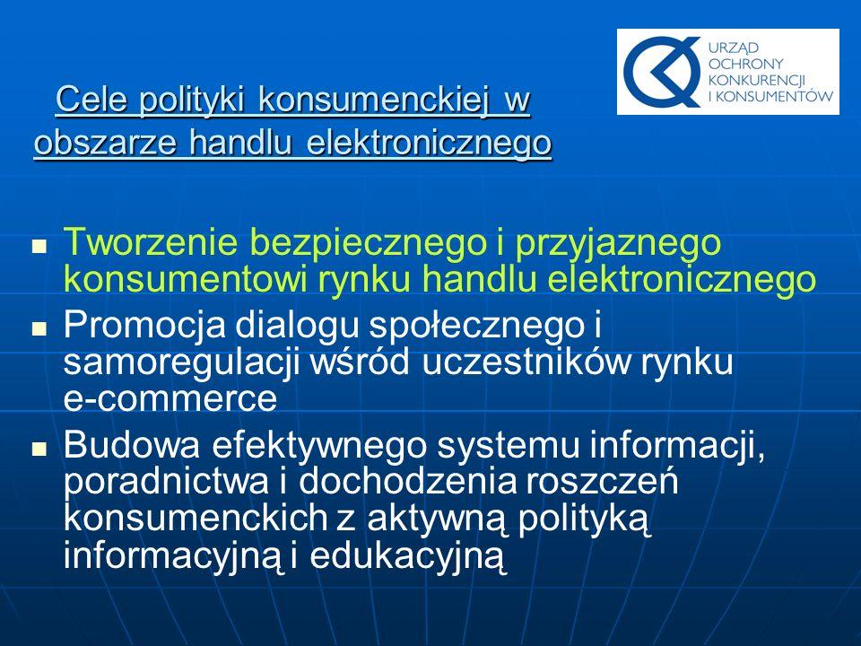 Cele polityki konsumenckiej w obszarze handlu elektronicznego Tworzenie bezpiecznego i przyjaznego konsumentowi rynku handlu elektronicznego Promocja