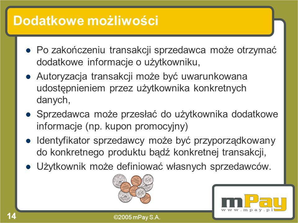 ©2005 mPay S.A. 13 Typy transakcji Płatności internetowe, Sprzedaż biletów (komunikacja, kino, teatr), Płatności za dobra i usługi w rzeczywistych pun