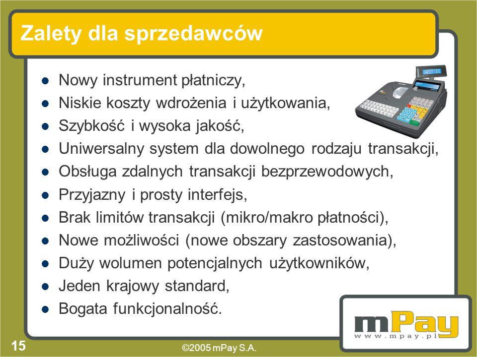 ©2005 mPay S.A. 14 Dodatkowe możliwości Po zakończeniu transakcji sprzedawca może otrzymać dodatkowe informacje o użytkowniku, Autoryzacja transakcji
