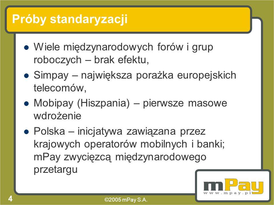 ©2005 mPay S.A. 3 Dostępne rozwiązania Systemy m-commerce bazujące na interfejsie WAP/WEB, Aplikacja na karcie SIM (konieczność wymiany karty, niewygo