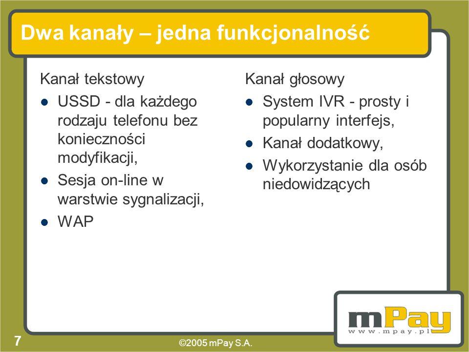 ©2005 mPay S.A. 6 Transakcja Dwa komplementarne interfejsy: głosowy i tekstowy, Identyczna funkcjonalność w obu interfejsach, Transakcja realizowana w